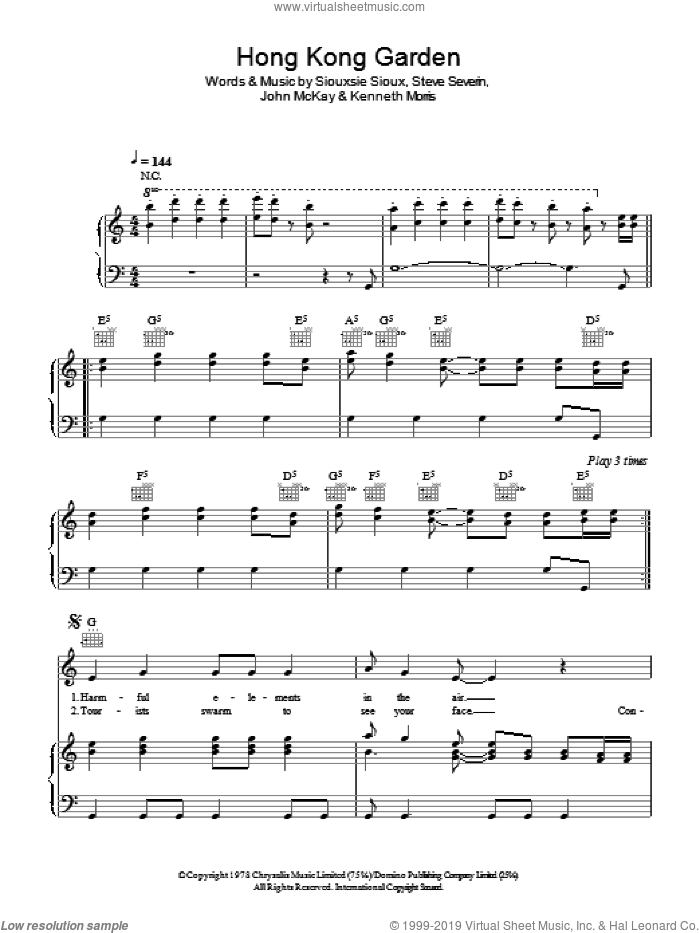 Hong Kong Garden sheet music for voice, piano or guitar by Steve Severin and Kenneth Morris. Score Image Preview.