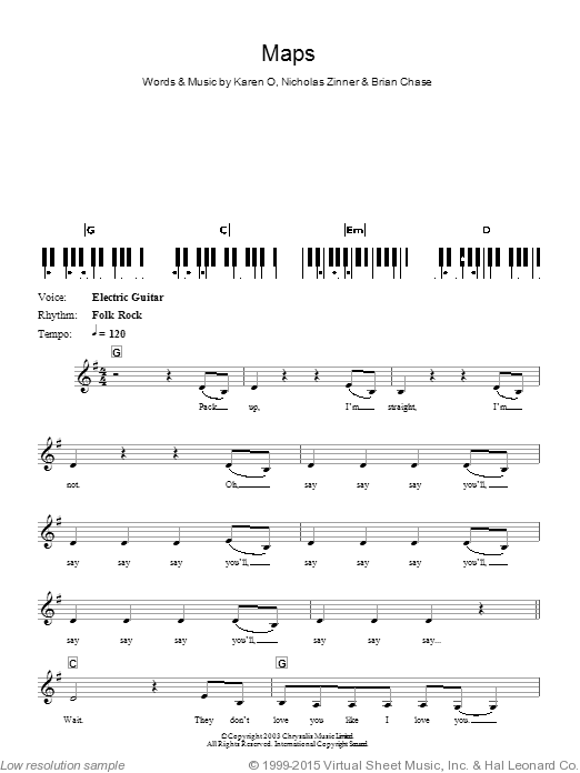 Maps sheet music for piano solo (chords, lyrics, melody) by Nick Zinner
