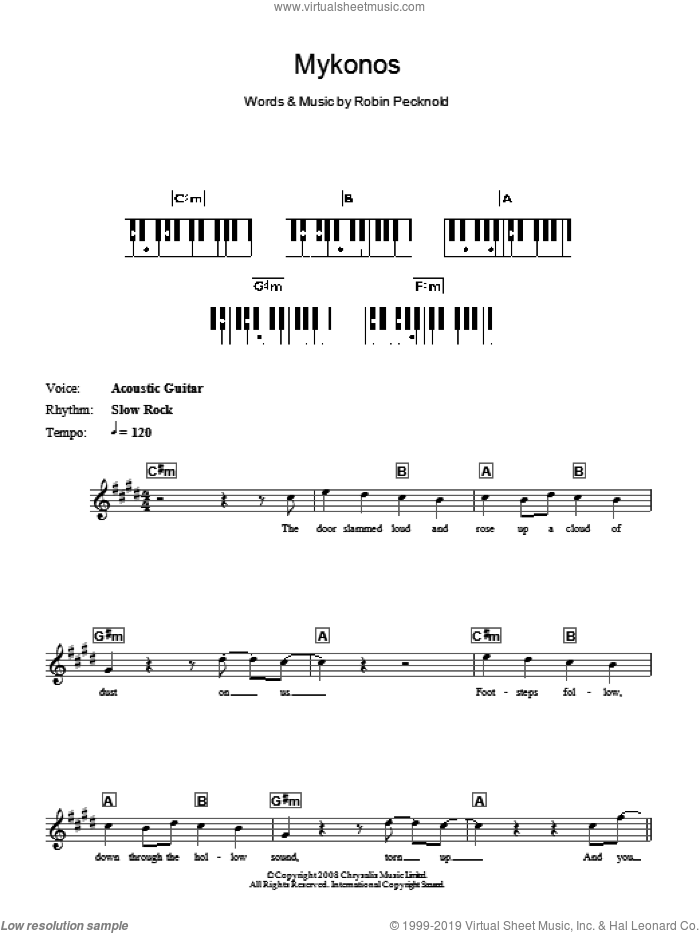 Mykonos sheet music for piano solo (chords, lyrics, melody) by Fleet Foxes. Score Image Preview.