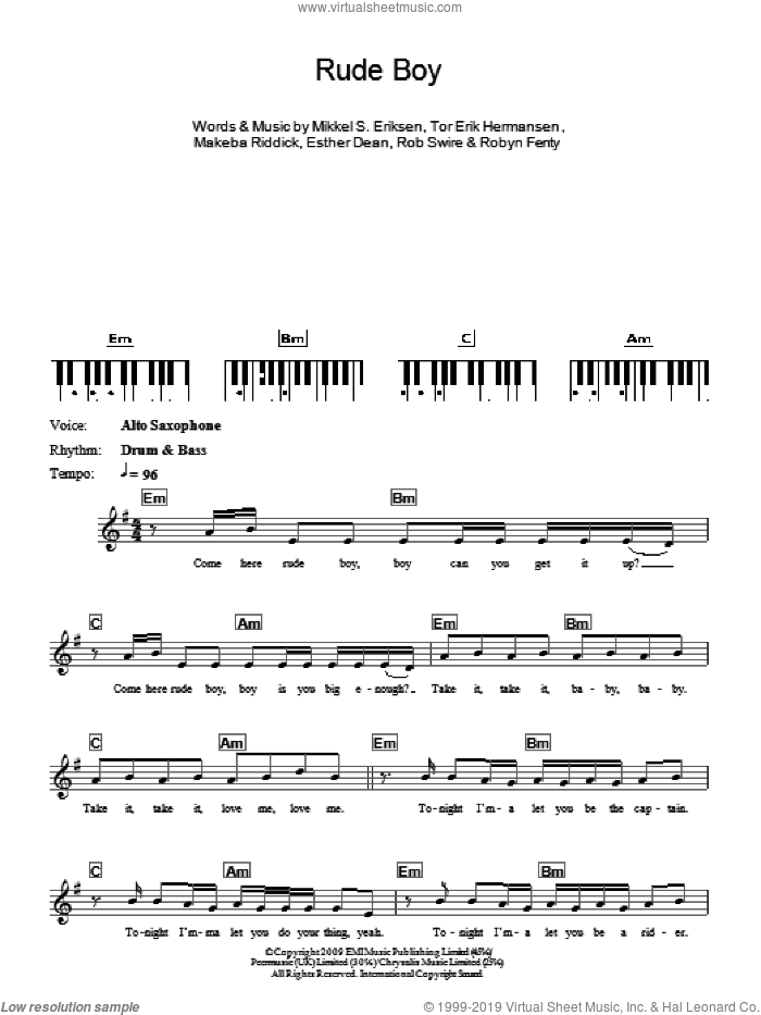 Rude Boy sheet music for piano solo (chords, lyrics, melody) by Rihanna, Ester Dean, Makeba Riddick, Mikkel S. Eriksen, Rob Swire, Robyn Fenty and Tor Erik Hermansen, intermediate piano (chords, lyrics, melody)