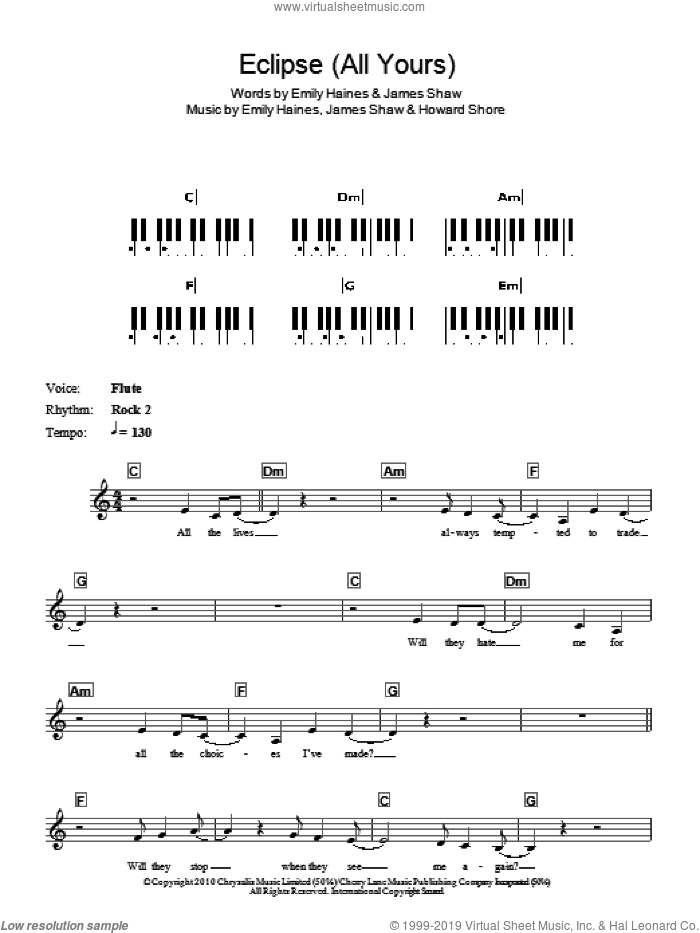 Eclipse (All Yours), (intermediate) sheet music for piano solo (chords, lyrics, melody) by Metric, Emily Haines, Howard Shore and James Shaw, intermediate piano (chords, lyrics, melody). Score Image Preview.