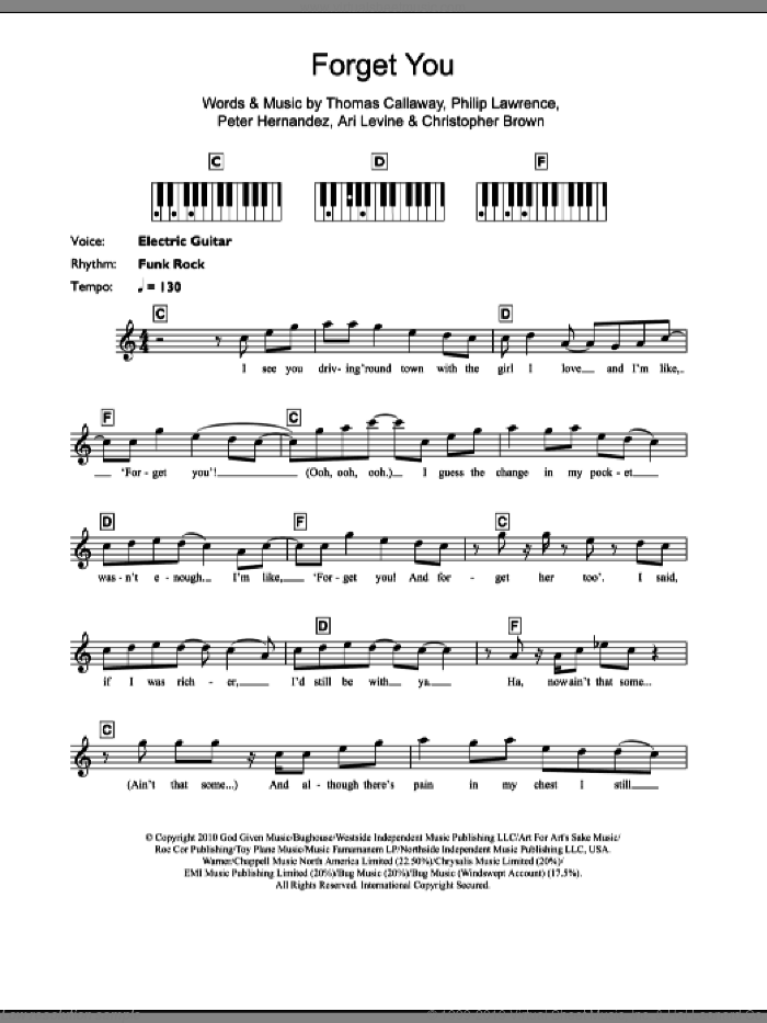 F**k You (Forget You) sheet music for piano solo (chords, lyrics, melody) by Cee Lo Green, Ari Levine, Chris Brown, Peter Hernandez, Philip Lawrence and Thomas Callaway, intermediate piano (chords, lyrics, melody)