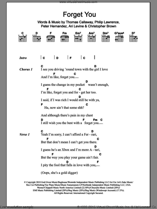 F*** You (Forget You) sheet music for guitar (chords, lyrics, melody) by Thomas Callaway