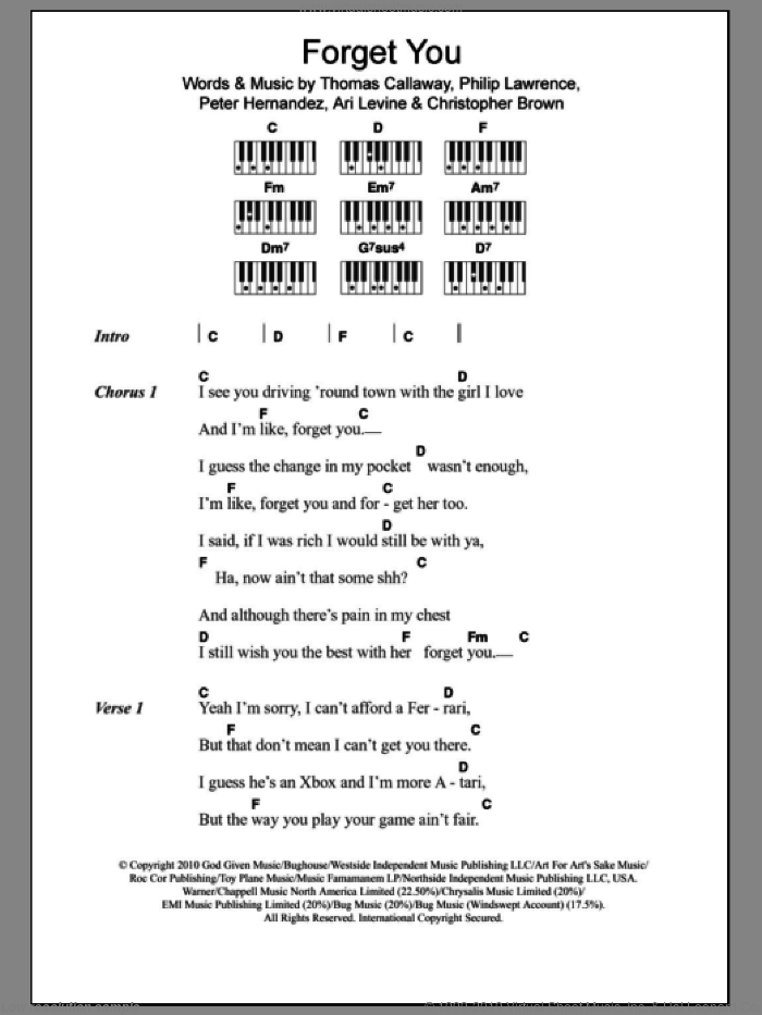F*** You (Forget You) sheet music for piano solo (chords, lyrics, melody) by Thomas Callaway, Cee Lo Green, Ari Levine, Chris Brown, Peter Hernandez and Philip Lawrence. Score Image Preview.