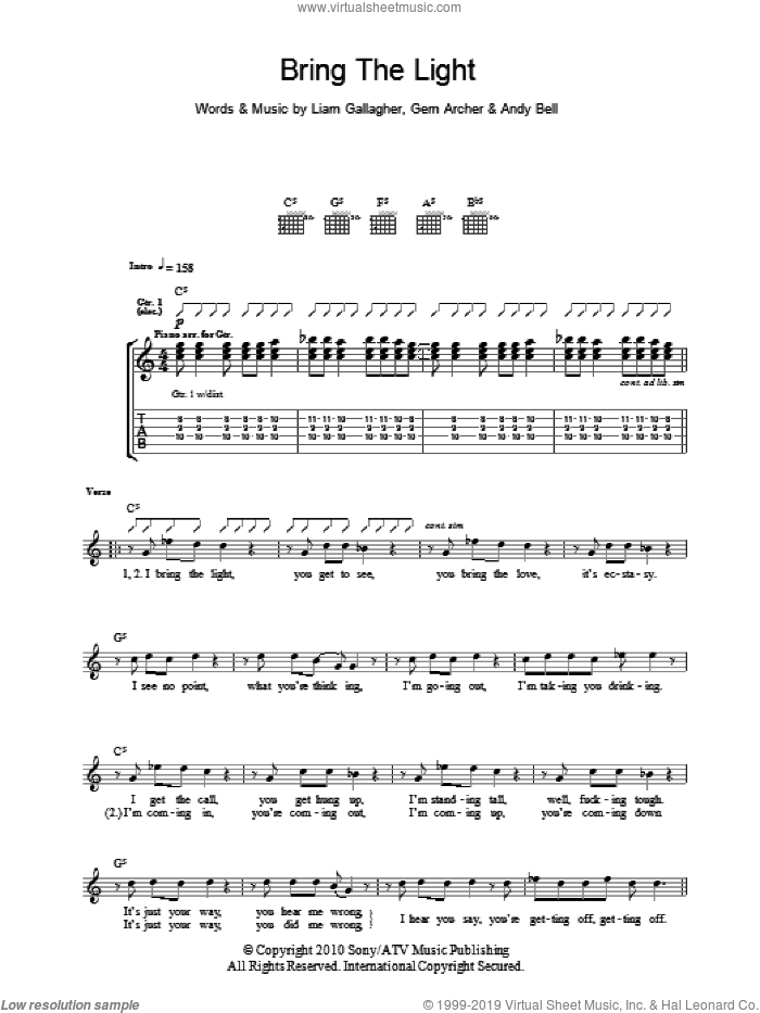 Bring The Light sheet music for guitar (tablature) by Liam Gallagher, Andy Bell and Gem Archer
