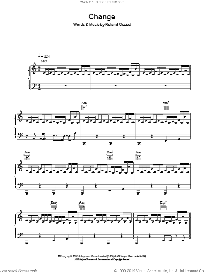 Change sheet music for voice, piano or guitar by Tears For Fears and Roland Orzabal, intermediate skill level
