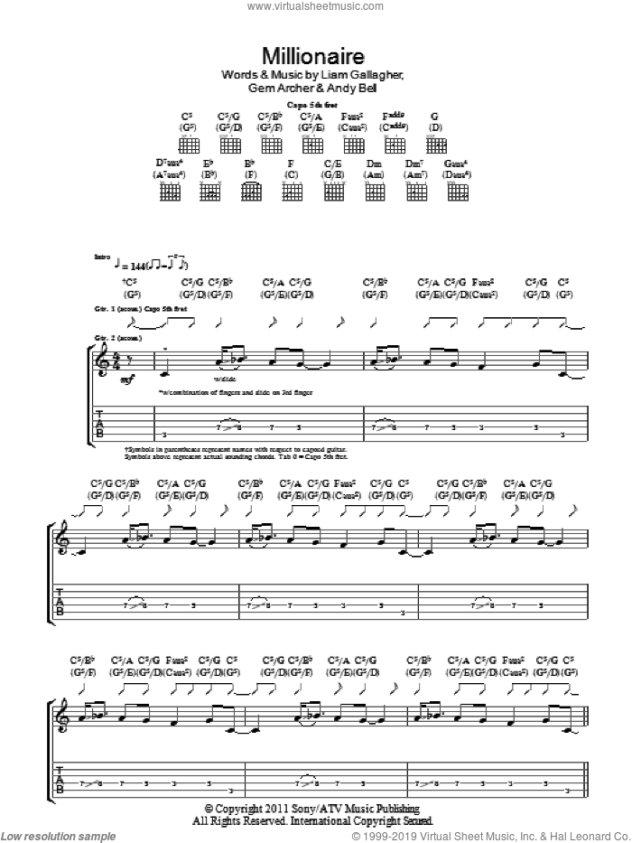 Millionaire sheet music for guitar (tablature) by Liam Gallagher, Andy Bell and Gem Archer