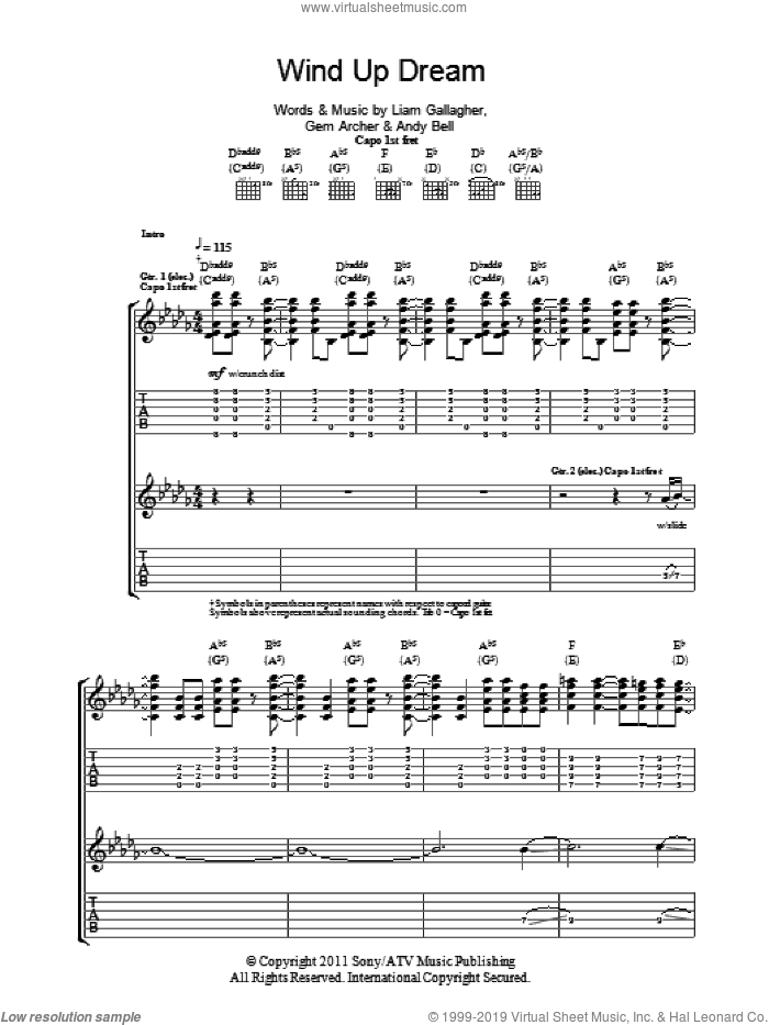 Wind Up Dream sheet music for guitar (tablature) by Liam Gallagher, Andy Bell and Gem Archer. Score Image Preview.