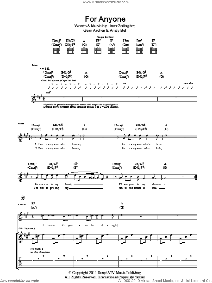 For Anyone sheet music for guitar (tablature) by Beady Eye, intermediate. Score Image Preview.