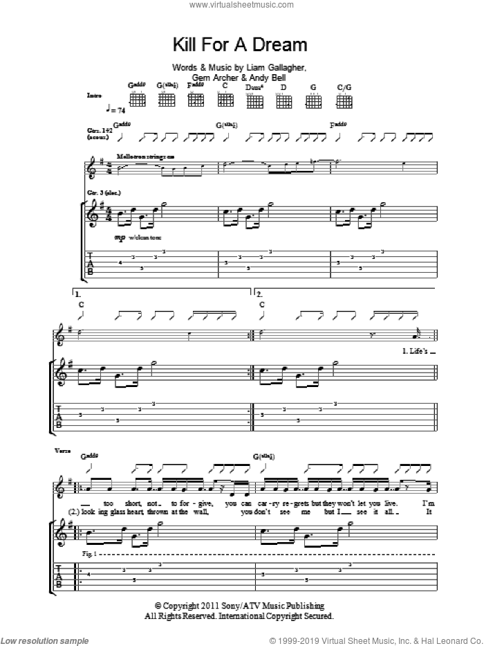 Kill For A Dream sheet music for guitar (tablature) by Beady Eye. Score Image Preview.