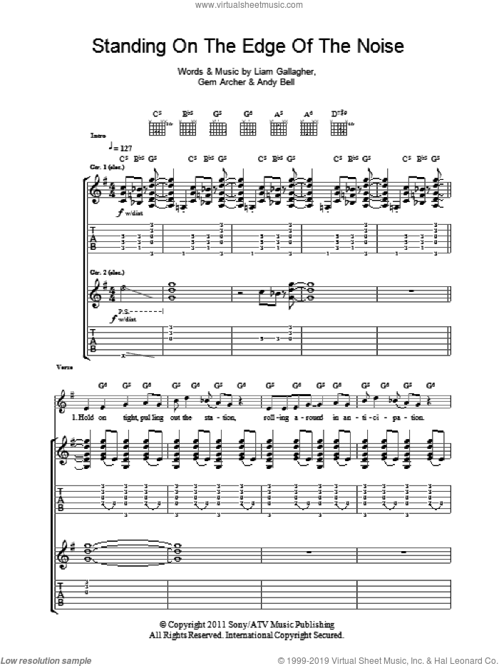 Standing On The Edge Of The Noise sheet music for guitar (tablature) by Liam Gallagher, Andy Bell and Gem Archer. Score Image Preview.