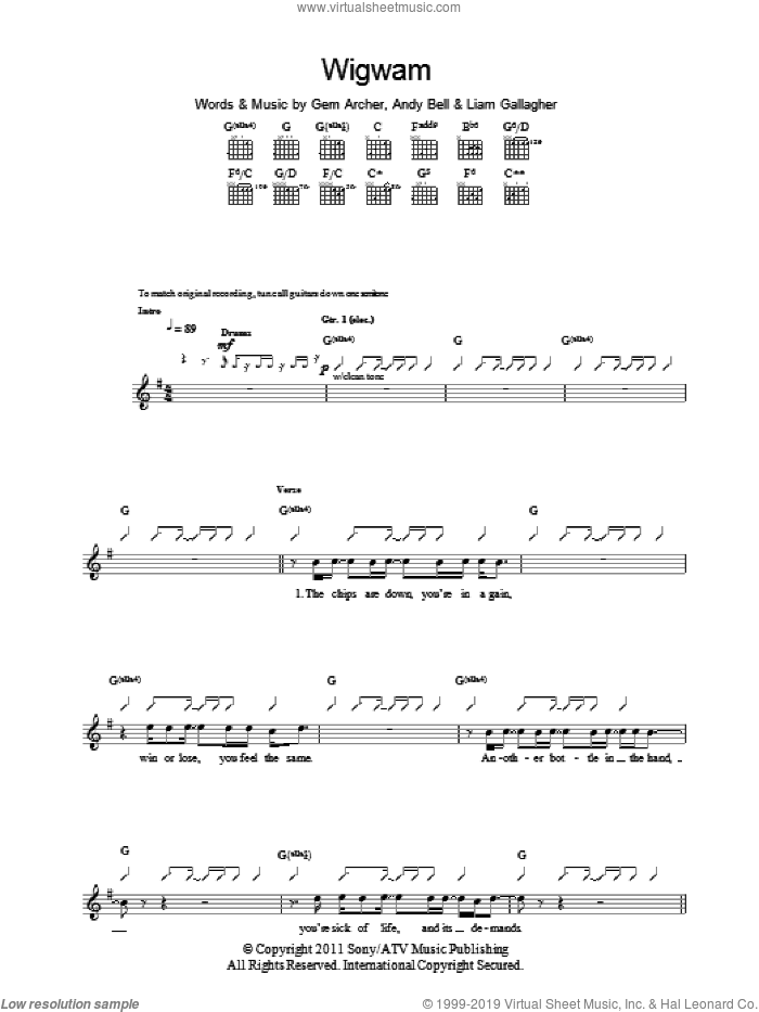Wigwam sheet music for guitar (tablature) by Beady Eye, intermediate guitar (tablature). Score Image Preview.