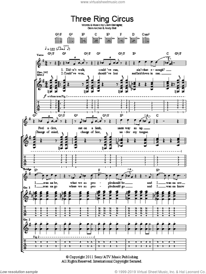 Three Ring Circus sheet music for guitar (tablature) by Liam Gallagher, Andy Bell and Gem Archer. Score Image Preview.