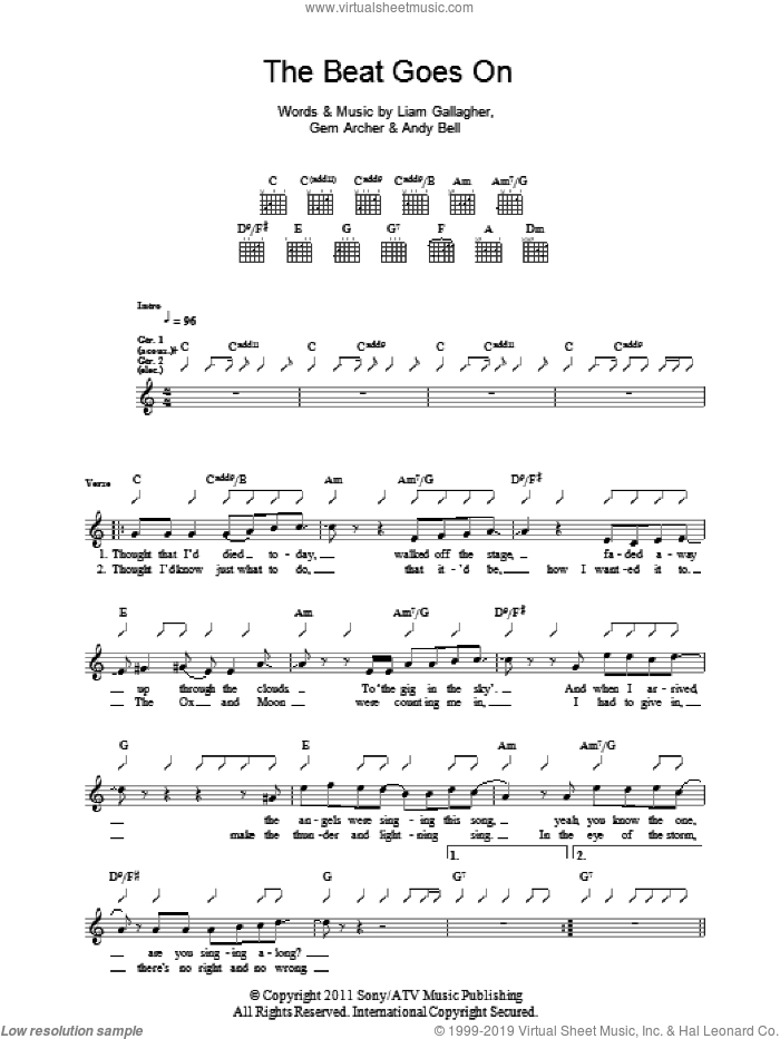 The Beat Goes On sheet music for guitar (tablature) by Liam Gallagher