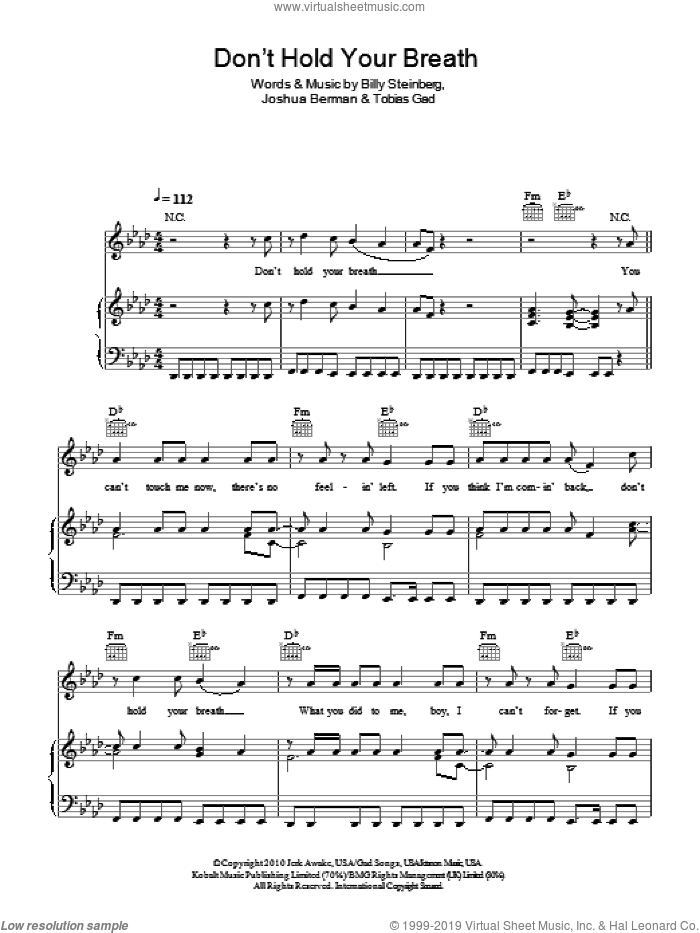 Don't Hold Your Breath sheet music for voice, piano or guitar by Nicole Scherzinger, Billy Steinberg, Joshua Berman and Toby Gad, intermediate. Score Image Preview.