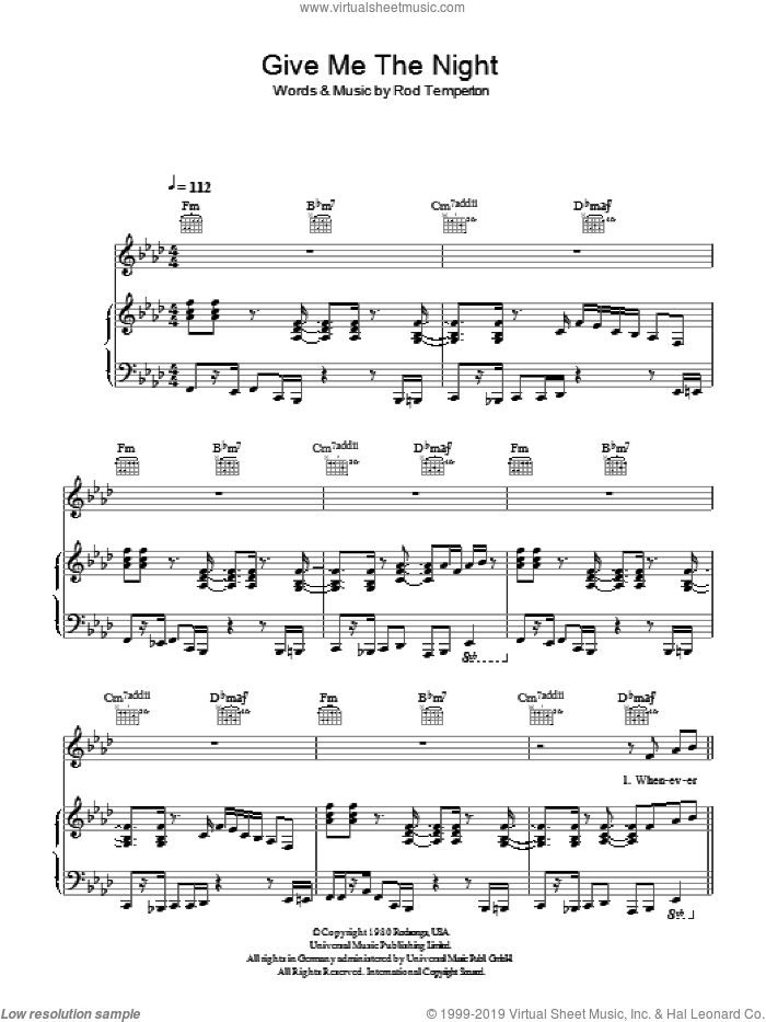 Give Me The Night sheet music for voice, piano or guitar by George Benson and Rod Temperton, intermediate. Score Image Preview.