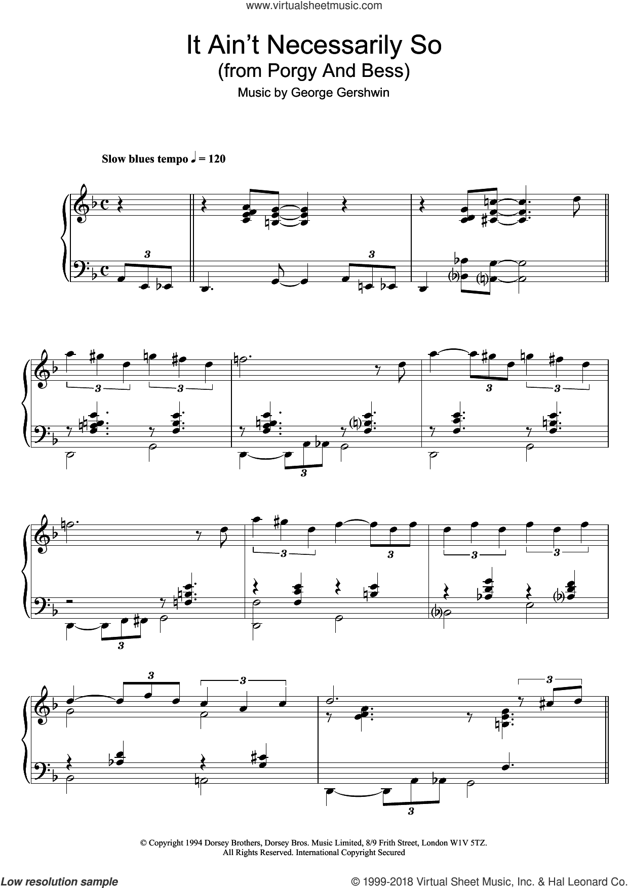 It Ain't Necessarily So sheet music for piano solo by Ira Gershwin