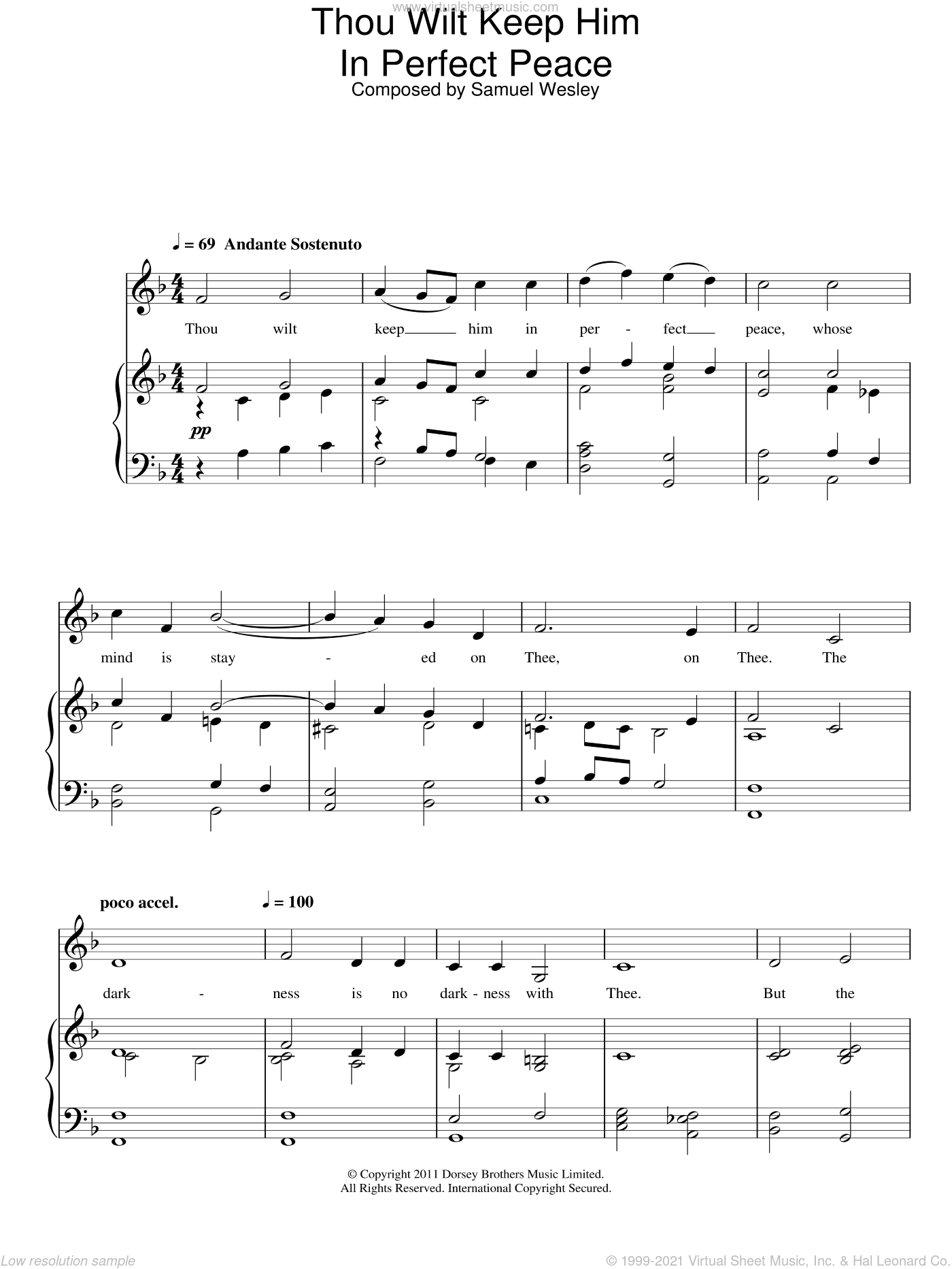 Thou Wilt Keep Him In Perfect Peace sheet music for voice and piano by Samuel Sebastian Wesley