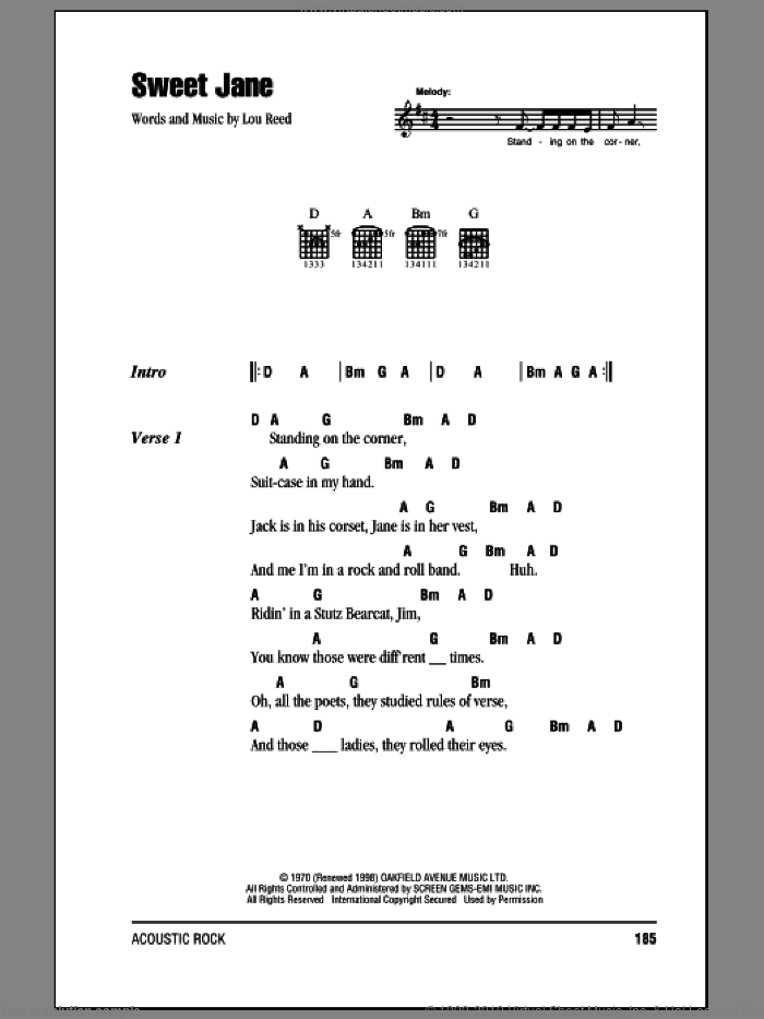 Sweet Jane (Intro) sheet music for guitar (chords, lyrics, melody) by Lou Reed