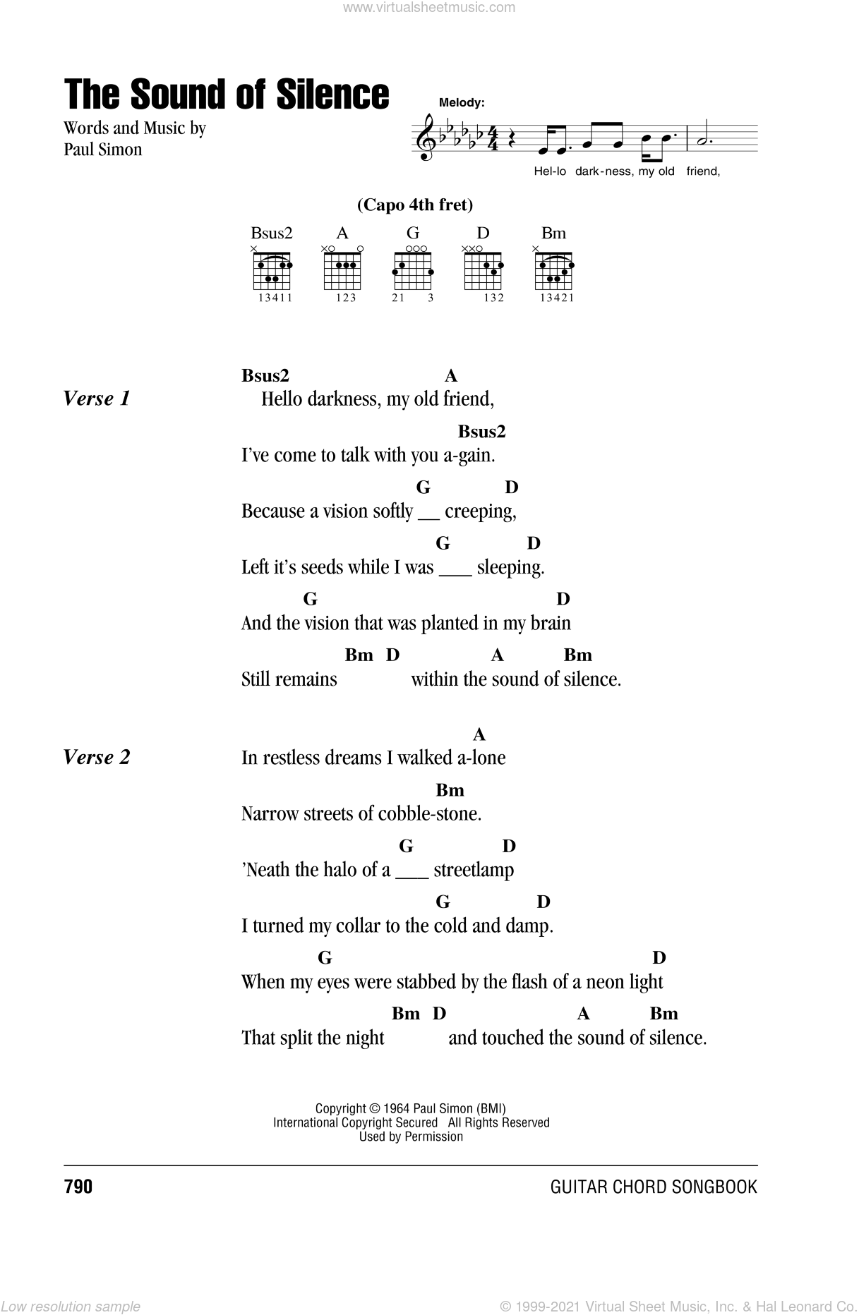The Sound Of Silence sheet music for guitar (chords, lyrics, melody) by Paul Simon