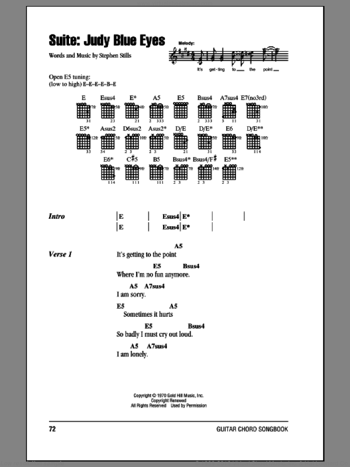 Suite: Judy Blue Eyes sheet music for guitar (chords) by Stephen Stills and Crosby, Stills & Nash. Score Image Preview.