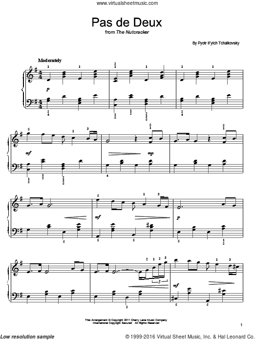 Pas de deux sheet music for piano solo by Pyotr Ilyich Tchaikovsky, classical Christmas carol score, easy piano. Score Image Preview.