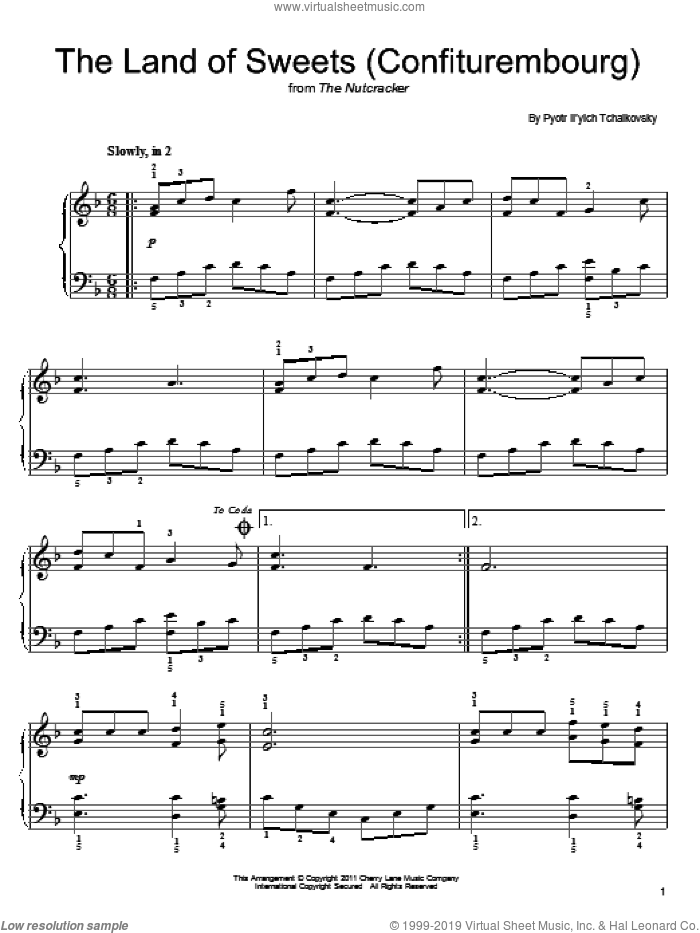 Confiturembourg sheet music for piano solo by Pyotr Ilyich Tchaikovsky, classical score, easy skill level