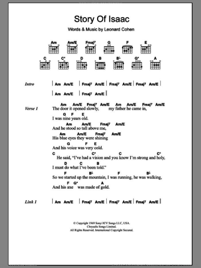 Story Of Isaac sheet music for guitar (chords) by Leonard Cohen, intermediate. Score Image Preview.