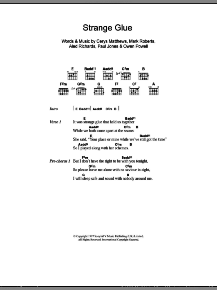 Strange Glue sheet music for guitar (chords) by Catatonia, intermediate guitar (chords). Score Image Preview.