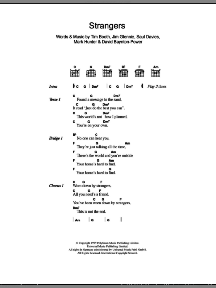 Strangers sheet music for guitar (chords) by Alex James, David Baynton-Power, Jim Glennie, Mark Hunter, Saul Davies and Tim Booth, intermediate skill level