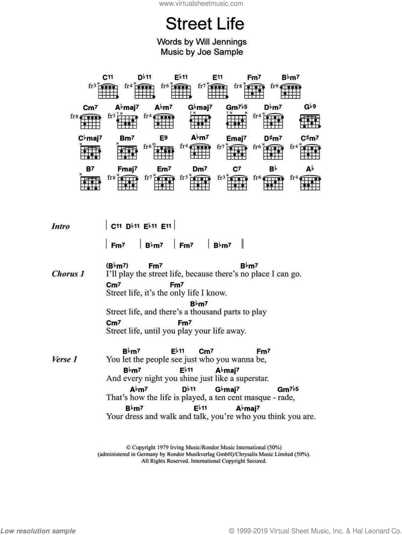 Street Life sheet music for guitar (chords) by The Crusaders, Joe Sample and Will Jennings, intermediate. Score Image Preview.