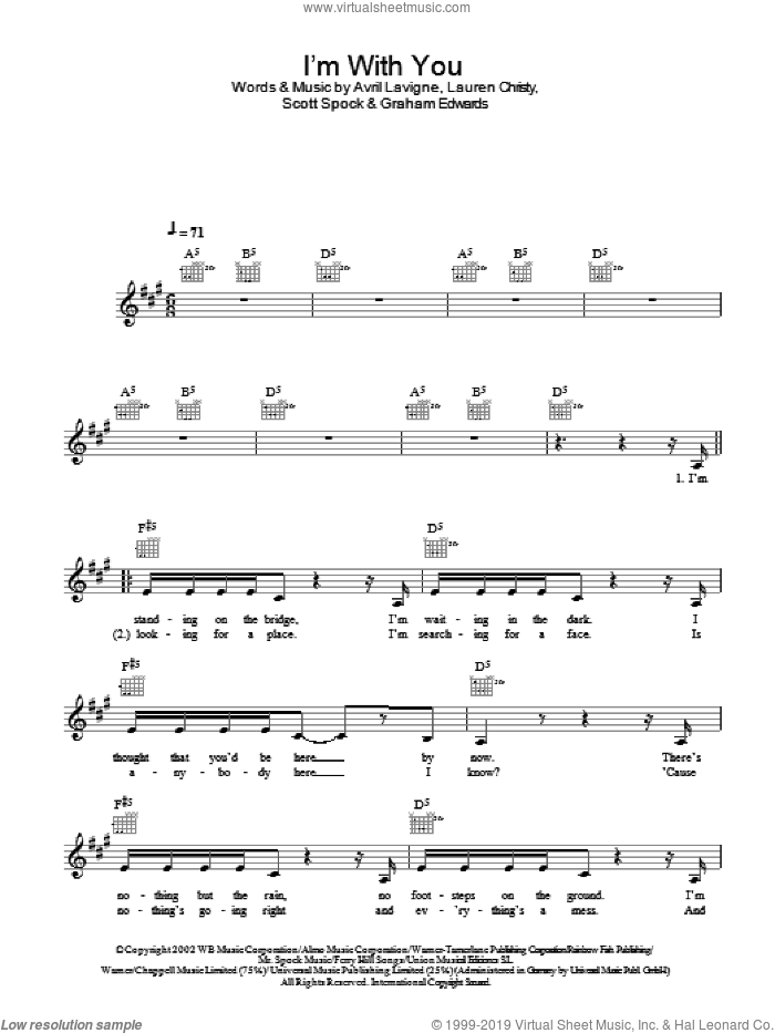 I'm With You sheet music for voice and other instruments (fake book) by Scott Spock, Avril Lavigne, Graham Edwards and Lauren Christy. Score Image Preview.