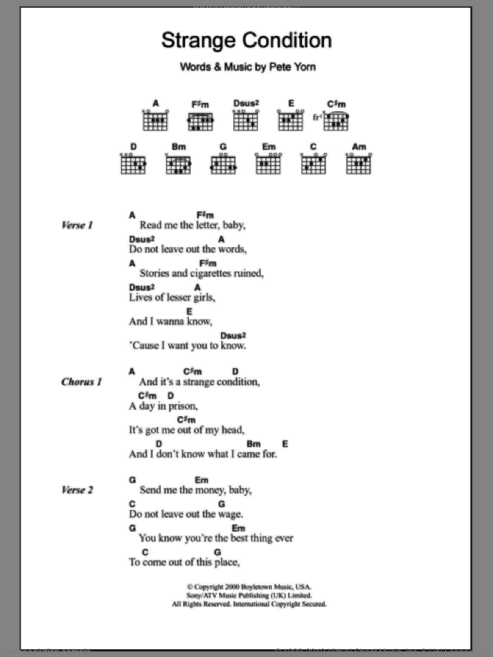 Strange Condition sheet music for guitar (chords) by Pete Yorn, intermediate
