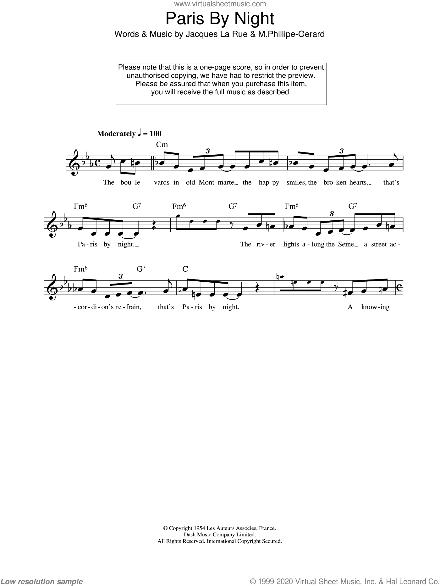 Paris By Night sheet music for voice and other instruments (fake book) by Jacques La Rue and M.Phillipe-Gerard, intermediate skill level