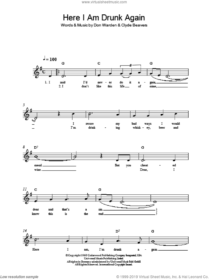 Here I Am Drunk Again sheet music for voice and other instruments (fake book) by Clyde Beavers