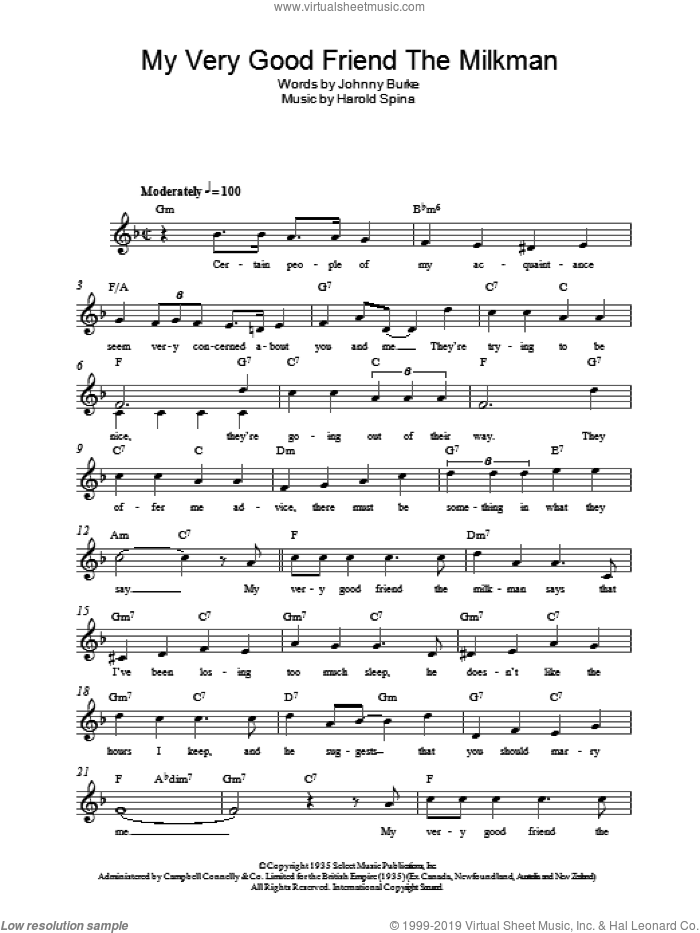 My Very Good Friend, The Milkman sheet music for voice and other instruments (fake book) by John Burke, Eric Clapton and Harold Spina. Score Image Preview.