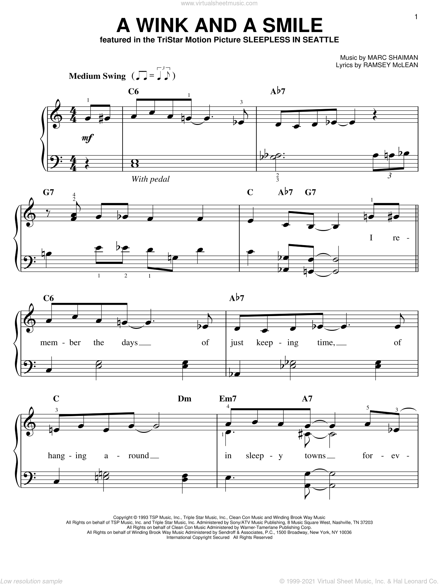 A Wink And A Smile sheet music for piano solo by Harry Connick Jr., Marc Shaiman and Ramsey McLean, wedding score, easy skill level