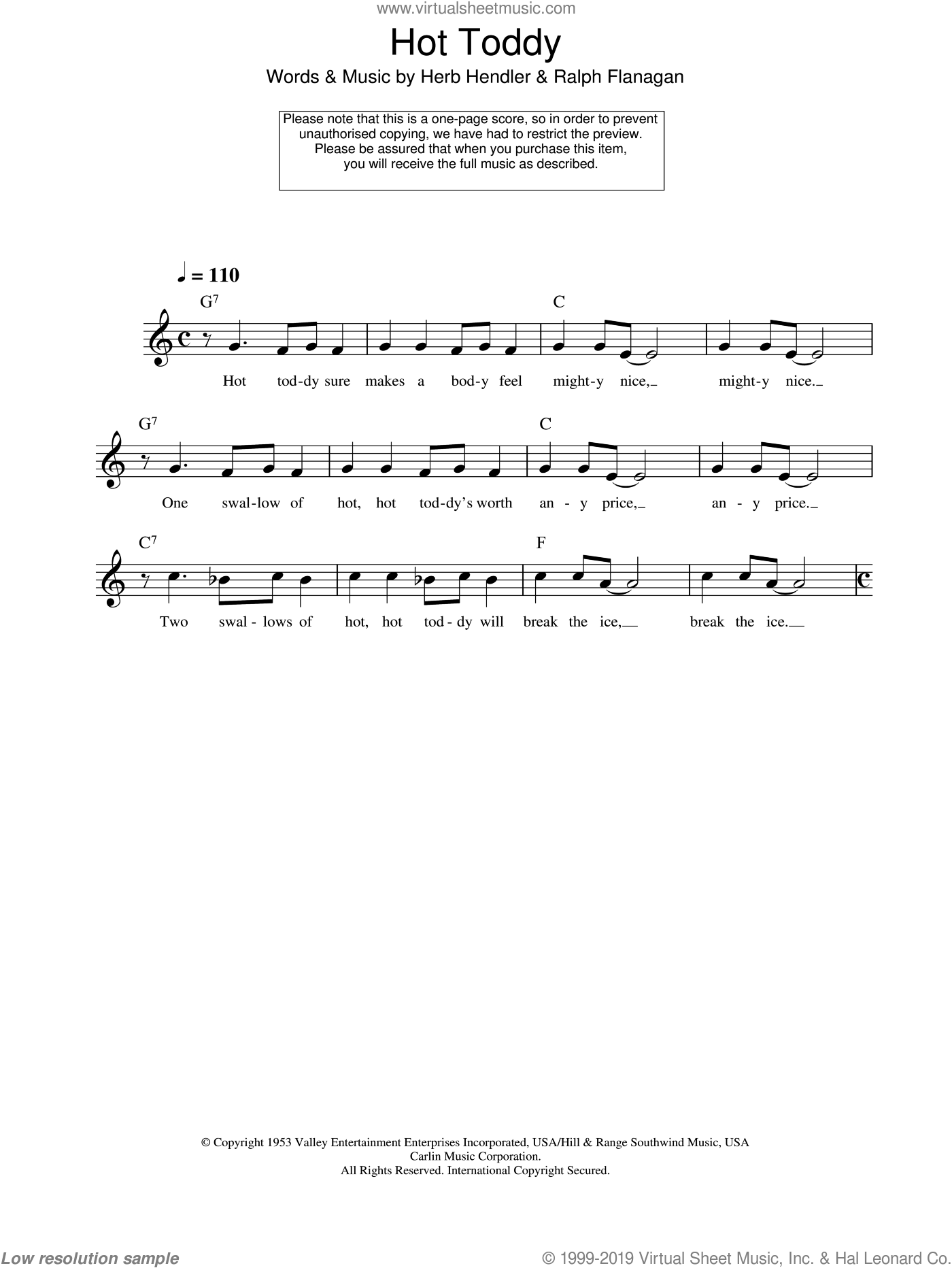 Hot Toddy sheet music for voice and other instruments (fake book) by Ralph Flanagan and Herb Hendler, intermediate skill level