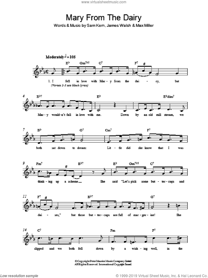 Mary From The Dairy sheet music for voice and other instruments (fake book) by Sam Kern, James Walsh and Max Miller. Score Image Preview.
