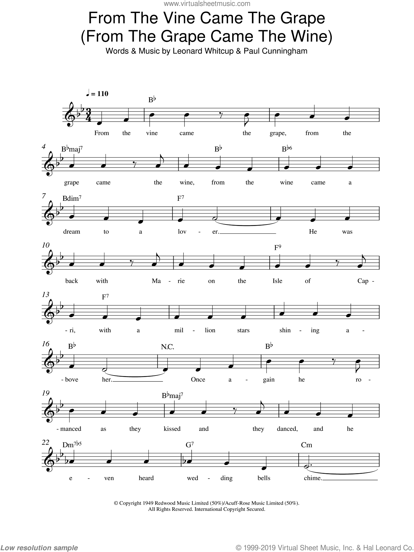 From The Vine Came The Grape (From The Grape Came The Wine) sheet music for voice and other instruments (fake book) by Leonard Whitcup and Paul Cunningham, intermediate skill level