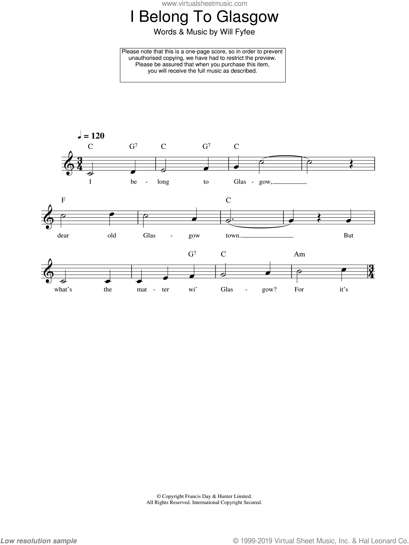 I Belong To Glasgow sheet music for voice and other instruments (fake book) by Will Fyfee, intermediate. Score Image Preview.