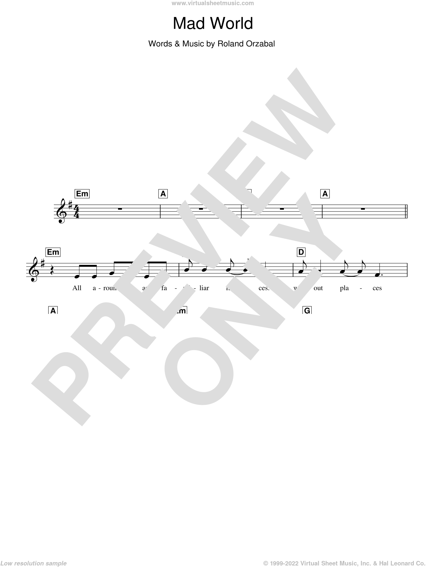 Mad World sheet music for piano solo (chords, lyrics, melody) by Roland Orzabal