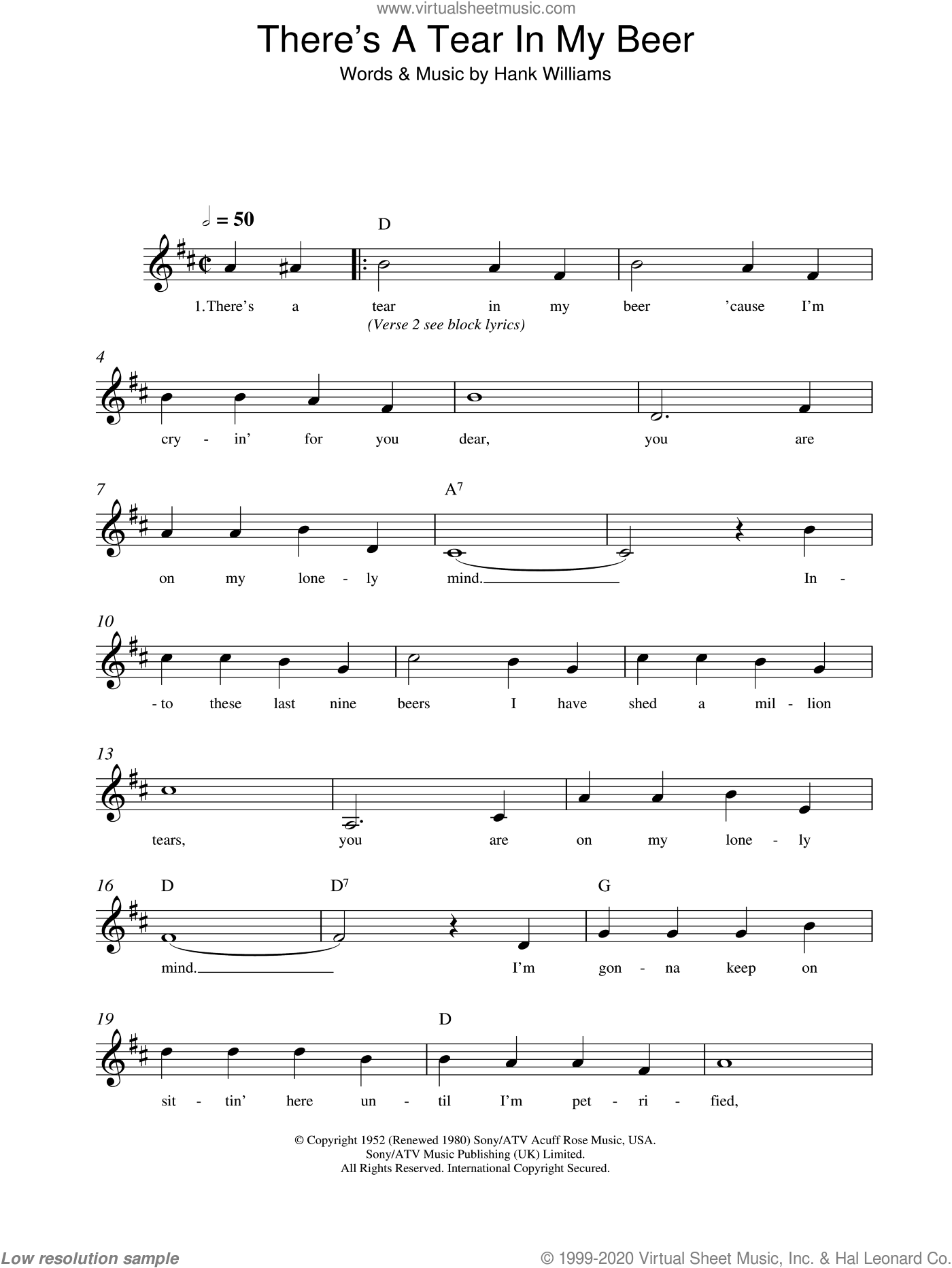 There's A Tear In My Beer sheet music for voice and other instruments (fake book) by Hank Williams, intermediate skill level