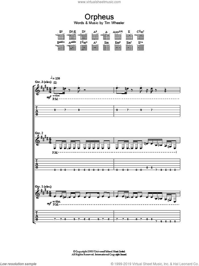 Orpheus sheet music for guitar (tablature) by Tim Wheeler. Score Image Preview.