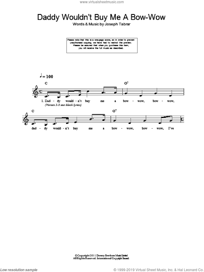 Daddy Wouldn't Buy Me A Bow-Wow sheet music for voice and other instruments (fake book) by Joseph Tabrar, intermediate voice. Score Image Preview.