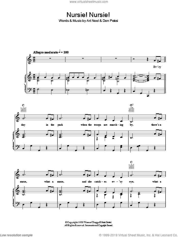 Nursie Nursie sheet music for voice, piano or guitar by Don Pelosi and Art Noel. Score Image Preview.