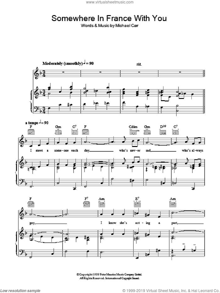 Somewhere In France With You sheet music for voice, piano or guitar by Michael Carr. Score Image Preview.