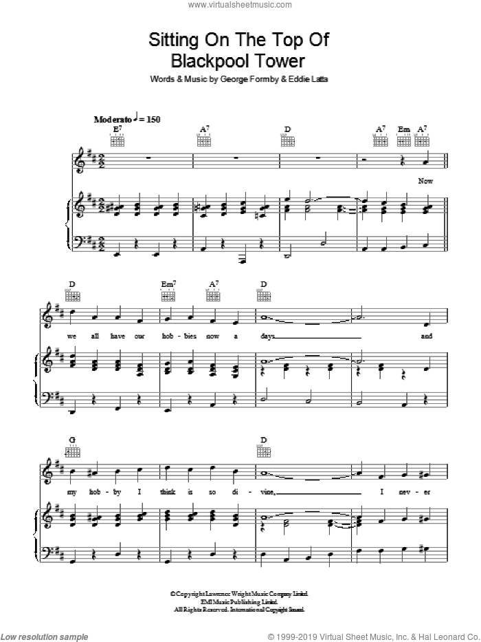 Sitting On Top Of Blackpool Tower sheet music for voice, piano or guitar by George Formby and Eddie Latta, intermediate skill level