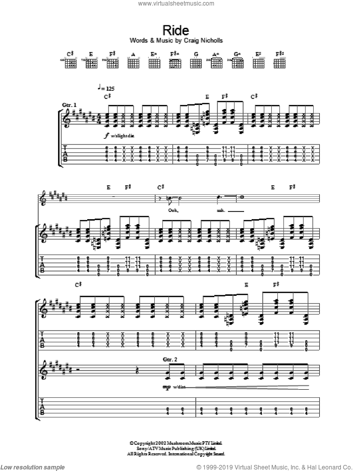 Ride sheet music for guitar (tablature) by Craig Nicholls