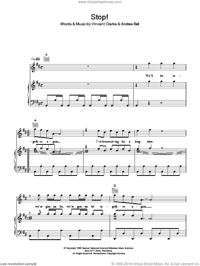 Stop sheet music for voice, piano or guitar by Vince Clarke and Erasure. Score Image Preview.